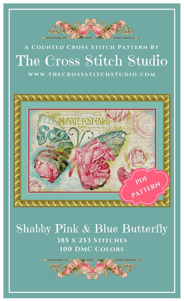 Butterfly cross stitch pattern pdf vintage shabby chic floral