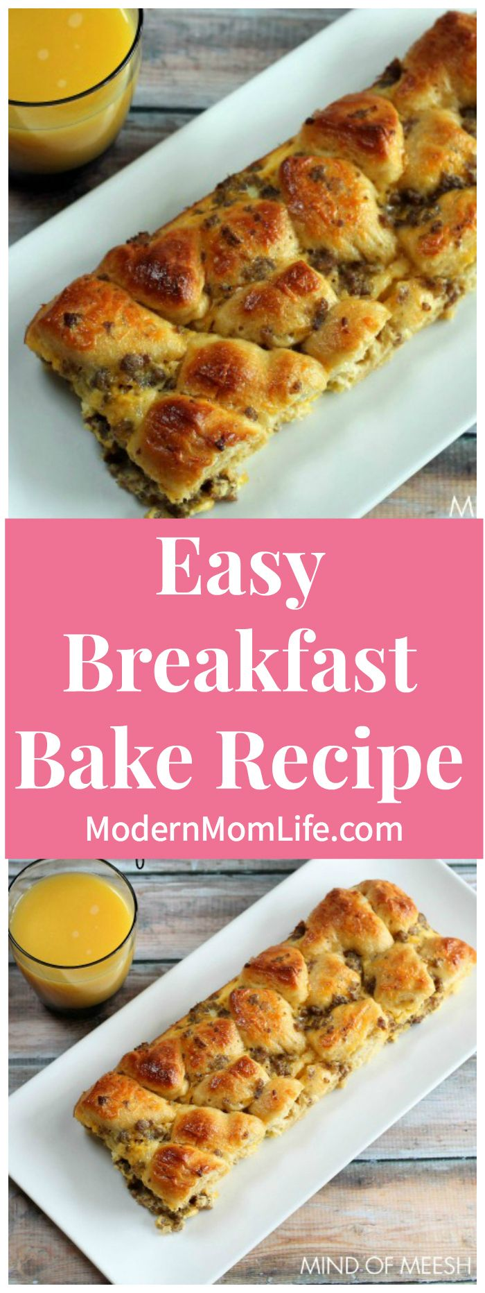 This Easy Breakfast Bake Recipe is sure to please the entire family. My kids can't get enough of this breakfast dish. via @amodernmomlife