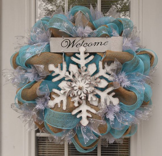 Winter+Snowflake+Mesh/Burlap+Large+Wreath+by+JennaBelles+on+Etsy,+$60.00