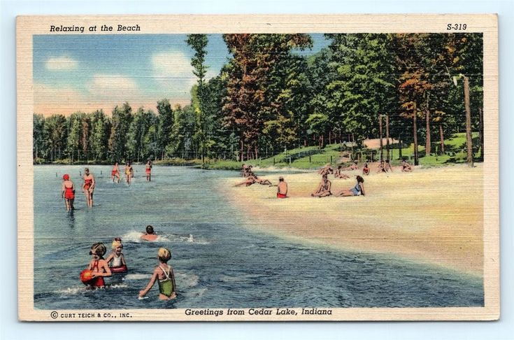 Postcard IN Cedar Lake Greetings Relaxing at the Beach Vintage Linen F19 | Collectibles, Postcards, US States, Cities & Towns | eBay!
