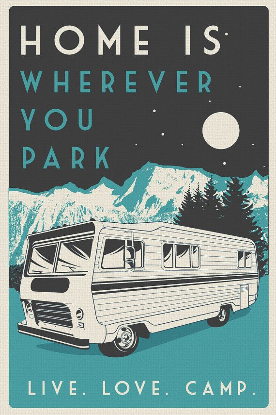 vintage retro camping poster live love camp by RetroScreenprints