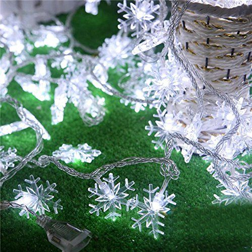 8 modes led snowflake string lihgts w tail