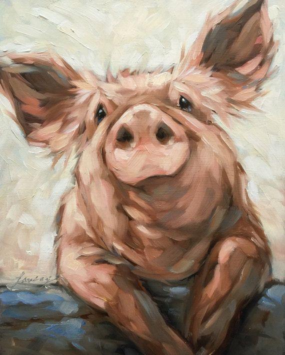 Schweinemalerei, Original impressionistisches Ölgemälde eines Schweins. 8×10 auf Holz, Schwein