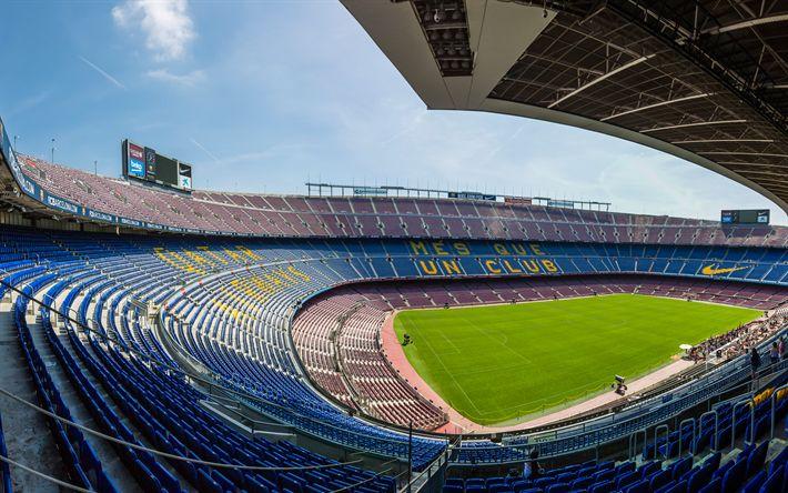 Download wallpapers Camp Nou, Barcelona, Spain, FCB, 4k, football stadium, sports arena, FC Barcelona