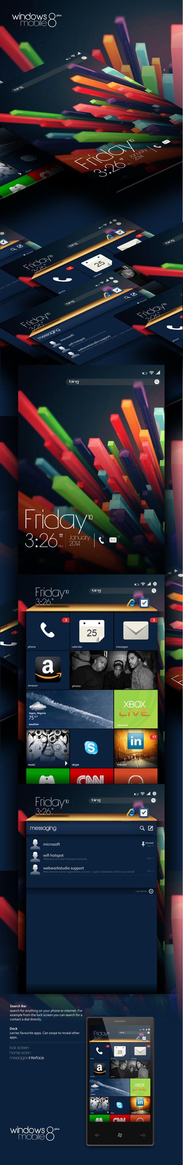 Windows Mobile 8 plus (mockup) by Kofo Adesanya, via Behance