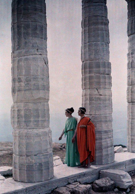 Two actors walk between the columns of Poseidon's Temple, Sounion-1930 autochrome photo Maynard Owen Williams