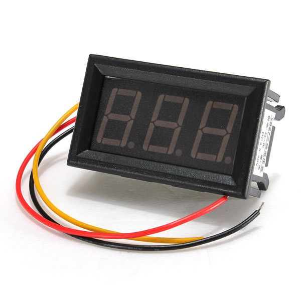 Led Mini 0.56 Inch Digital Voltmeter Panel Meter Dc 0-99.9v 3 Wire. Description :  	 	This is LED mini 0.56 inch digital voltmeter panel meter DC 0-99.9V 3 wire 	Module name : voltage display module 	Measurement accuracy : 0.1% 	Refresh rate : About 200ms 	Display : three 0.56 inch digital tube 	Measuring range : 0V-99.9V 	Power supply range : DC 4.5V-30V 	Operating current : less than 8mA 	 	Display color : Blue, green 	Storage Temperature : -10  to  65  	Input impedance : approximately…