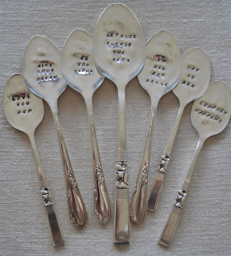 Hand stamped, silver plated flatware.  www.and-then-again.com  www.facebook.com/andthenagaindesigns
