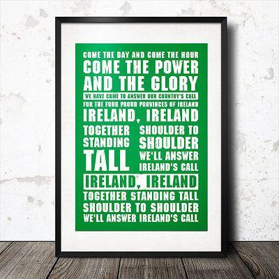 ireland rugby song lyrics poster anthem irish ireland's call