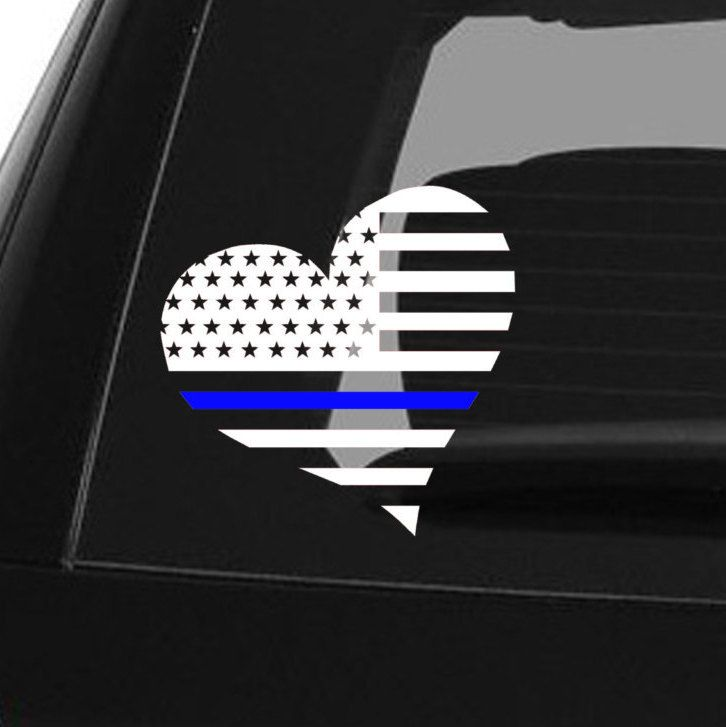 Thin blue line decal police decal blue lives matter law enforcement car decal