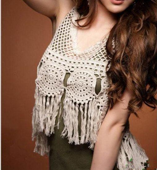 Fringed Tank Top Hippie fringed vest Crochet by Tinacrochetstudio