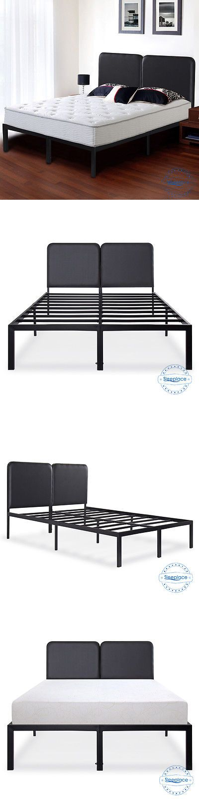 Beds and Bed Frames 175758: Sleeplace Steel Slat Sturdy Metal Platform Bed Frame With Faux Leather Headboard -> BUY IT NOW ONLY: $145.86 on eBay!