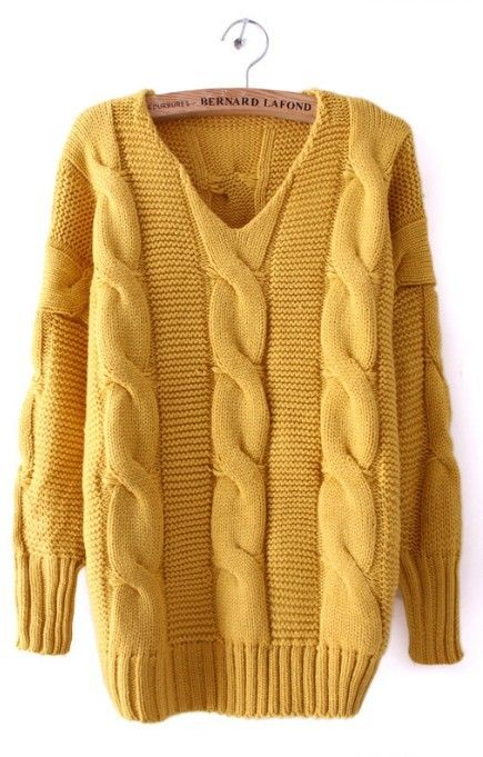 Mustard Yellow Cable Sweater