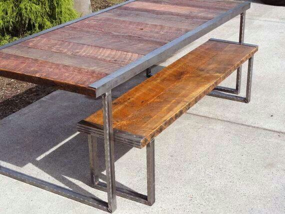 reclaimed wood and industrial metal outdoor table and bench jardin