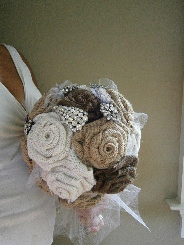 Burlap Flower Wedding Bouquet with Vintage by trinketsjewelry