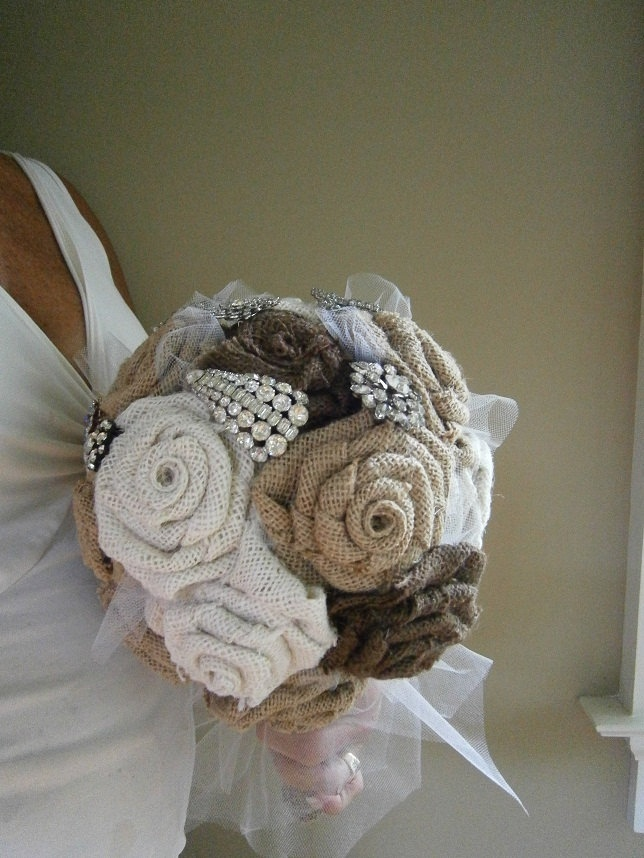Burlap Flower Wedding Bouquet with Vintage Rhinestone Brooches. $155.00, via Etsy.