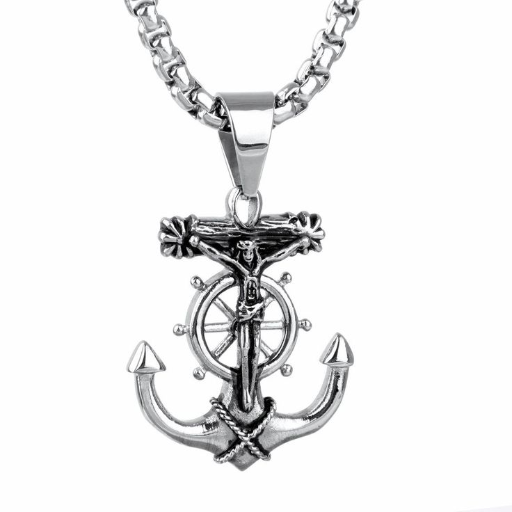 """Jewelry Home Vintage Punk Men Silver Jesus Cross Anchor Stainless Steel Pendant with """"21.6"""" Stainless Steel Necklace. 100% Solid 316 L Stainless Steel. Nickle Free; Anti-allergic. Anti-oxidation. High Polished; Never Fade. High Quality; Fashion Design."""
