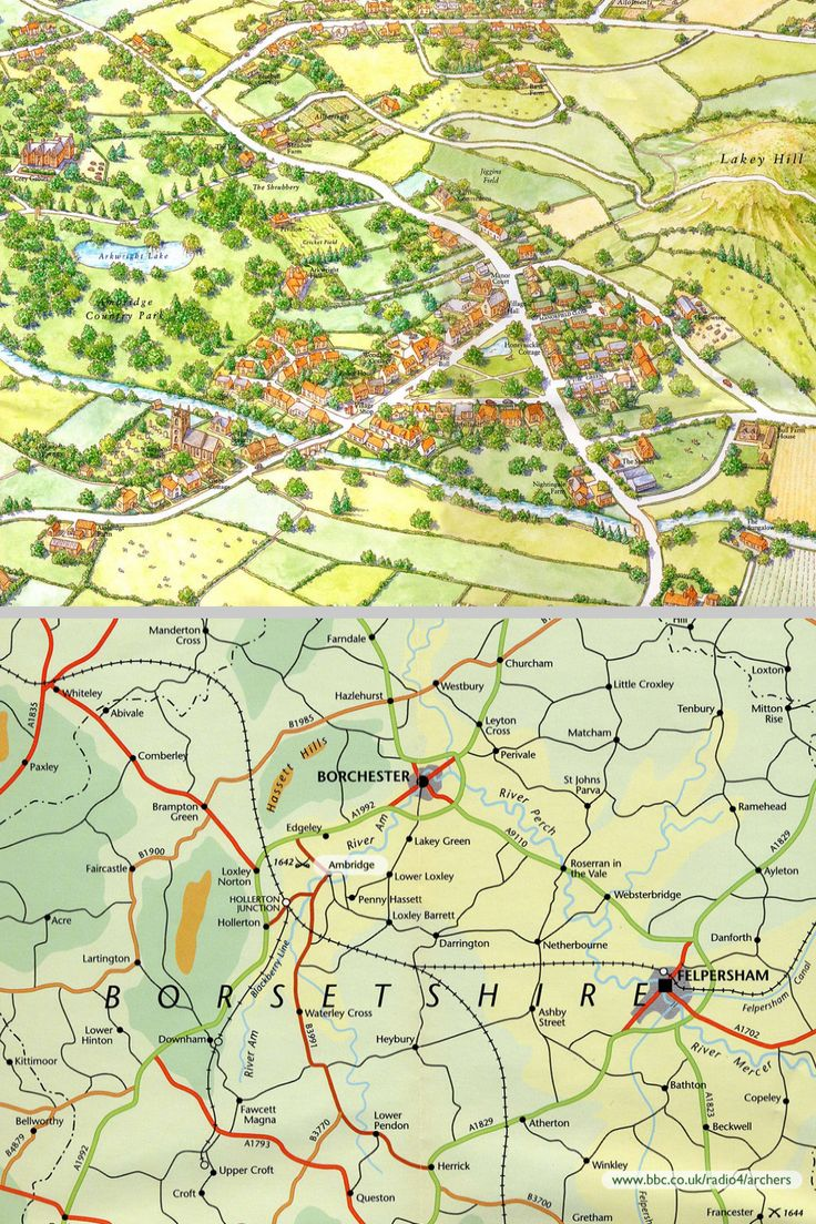 Some maps of the mythical village of Ambridge in Borsetshire, familiar to listeners to 'The Archers' on BBC Radio 4 (running since 1951)
