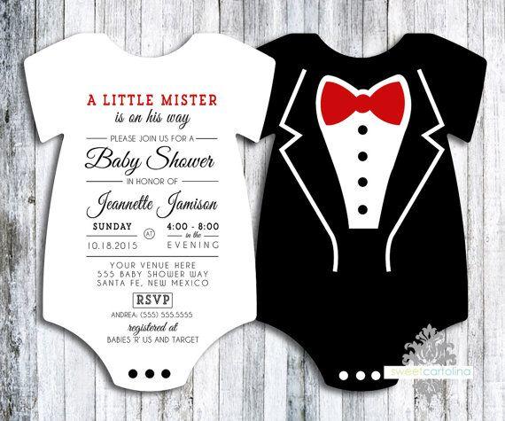 Tuxedo Onesie Baby Shower Invitation  set of 20 by SweetCartolina