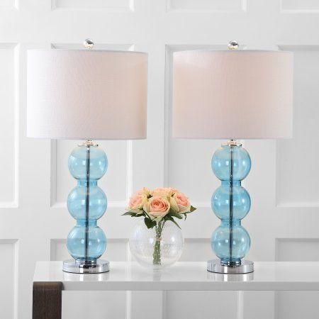 Bella 27 Inch Glass Triple Sphere Led Table Lamp Sky Blue Chrome Set Of 2 Size 27 Inch