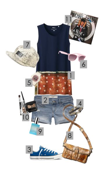 1. UNIQLO WOMEN SPRZ NY TANK TOP (STEPHEN SHORE) 2. ABERCROMBIE & FITCH A&F MIDI LENGTH SHORTS 3. CONVERSE CHUCK TAYLOR FRESH COLORS 4. ASHLEY BRIDGET MYSTERY 5. CASIO BABY-G BG5606-7B – OOS (WHITE) 6. WITH LOVE FROM CA PEARLIZED SUNGLASSES 7. VANS WILLA SANKE PRINT 5 PANEL HAT 8.FREE PEOPLE BERETTA CROSSBODY 9. CLEAN COOL COTTON (EAU DE PARFUM) 10. BARE MINERALS BARE TUTORIALS NEUTRAL EYES 11.SONG: I'M ALIVE (LIFE SOUNDS LIKE) BY MICHAEL FRANTI & SPEARHEAD