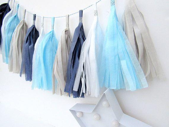 Light Blue Dark Blue Grey & White Tissue Paper Tassel