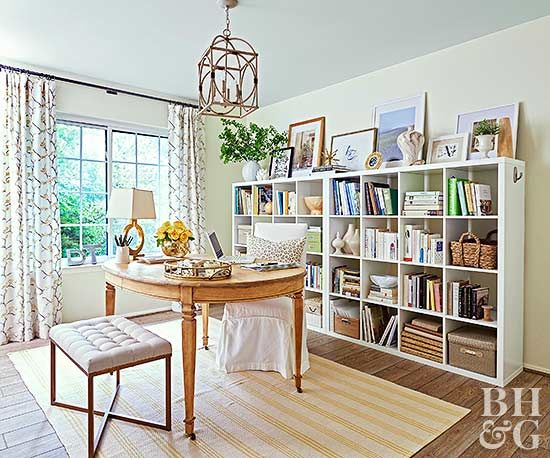 For picture-perfect bookcase decorating, resist the urge to pack in accessories on every shelf.