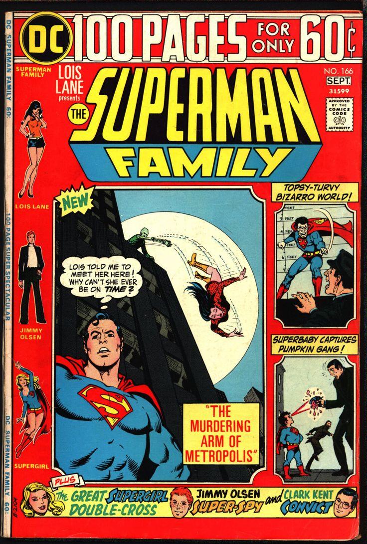 SUPERMAN Family #166 1974 Lois Lane BIZARRO Supergirl Jimmy Olsen Metropolis Daily Planet Jerry Siegel John Rosenberger Curt Swan Jim Mooney