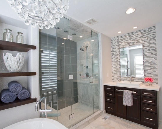 petruzzi master bathroom custom wood shelves 12x24 glass tile on back wall of shower - Glass Tile Castle Ideas