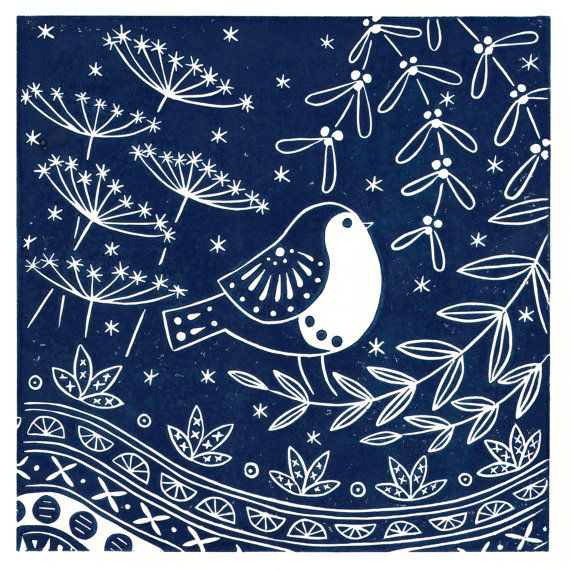 Jacinta Robin in midnight blue limited edition linocut by MabelFox