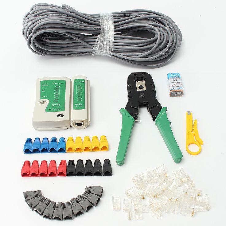 RJ45 Cat5e Cat6 Red Ethernet LAN Kit Cable Tester Crimper Set de herramientas de crimpar