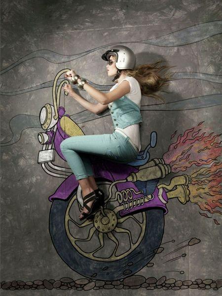 Modelos posan sobre ilustraciones creativas en la acera | Arte, Fotografía, en Gran Angular Blog