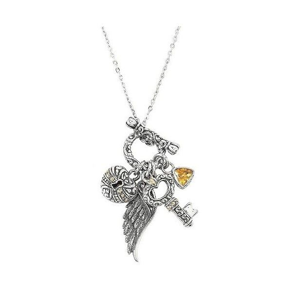 Women's Multi-Charm and Citrine Necklace in Sterling Silver and  Gold... ($225) ❤ liked on Polyvore featuring jewelry, necklaces, orange sorbet, heart charm necklace, orange necklace, angel wing necklace, angel wing charm and charm anklet