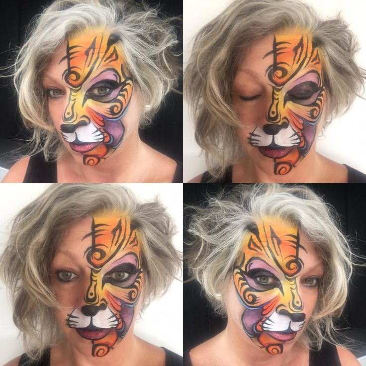 """32 Likes, 1 Comments - Jane - Face & Body Artist (@rainbowrascals) on Instagram: """"Tiger Collage - #facepainting #rainbowrascals #faceart #tiger #tribal"""""""