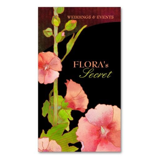 71 best business cards florist images on pinterest business cards pink hollyhocks elegant florist business cards colourmoves