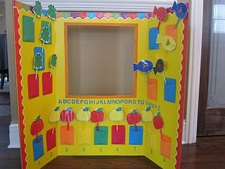 DIY: Project Board turned into a puppet stage for singing songs, fingerplays and retelling stories! Love this idea!  Decorate with bulletin board trimmer!!!
