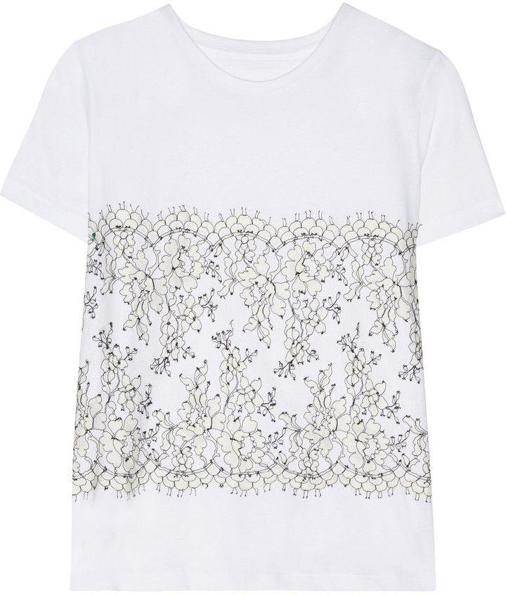 Christopher Kane Lace-appliquéd cotton and cashmere-blend T-shirt on shopstyle.co.uk