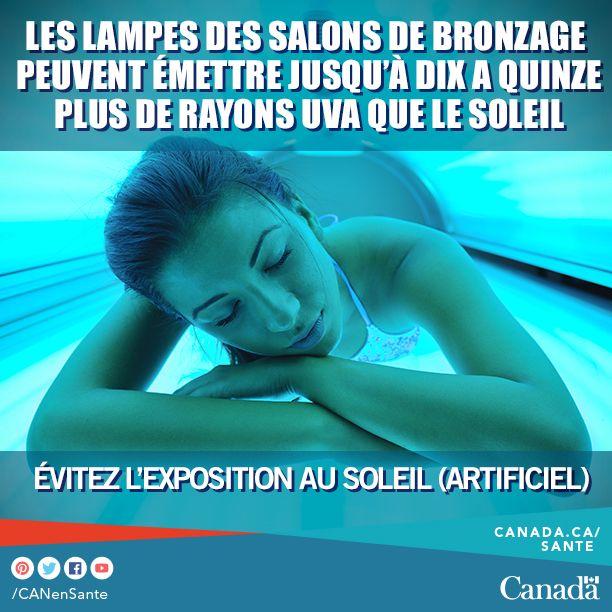 Il n'y a pas de méthode de bronzage sécuritaire. Le bronzage est un signe que votre peau a été endommagée par les rayons UV. Santé Canada vous recommande de ne pas utiliser d'équipement de bronzage (comme les lampes ou les cabines de bronzage). Si vous comptez tout de même les utiliser, apprenez-en plus sur les risques afin de prendre une décision éclairée : http://canadiensensante.gc.ca/healthy-living-vie-saine/environment-environnement/sun-soleil/bed_lamps-lits_lampes-fra.php