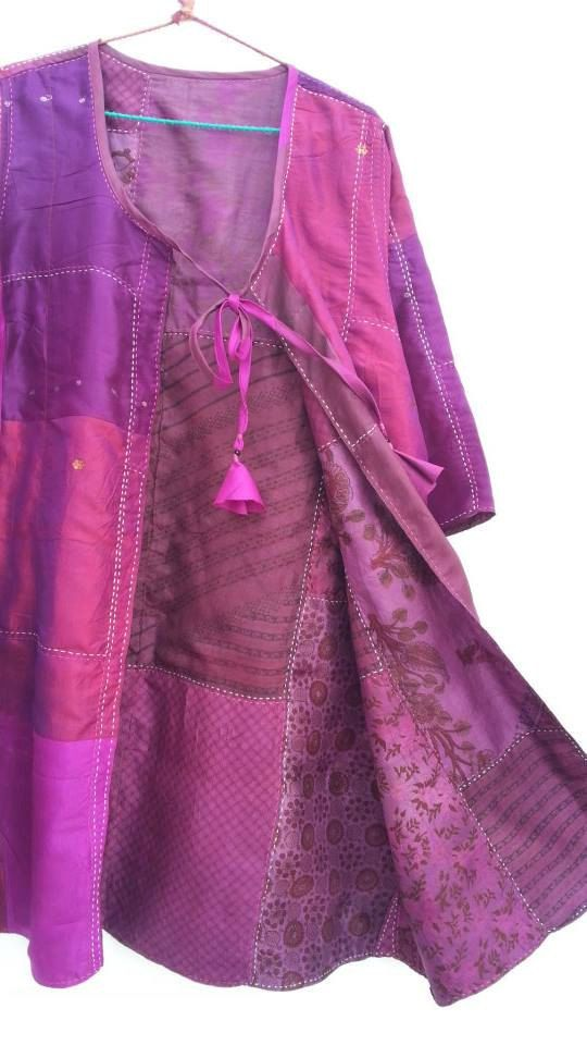Duster Jacket Recycled Sari silk hand by TastyOldChooksClothz