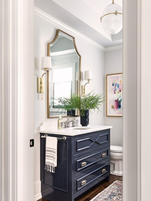 Navy Blue Custom Vanity Design Towel Bar On The Side Of The Vanity Gold Arch In 2020 Powder Room Vanity Blue Powder Rooms Vanity Design