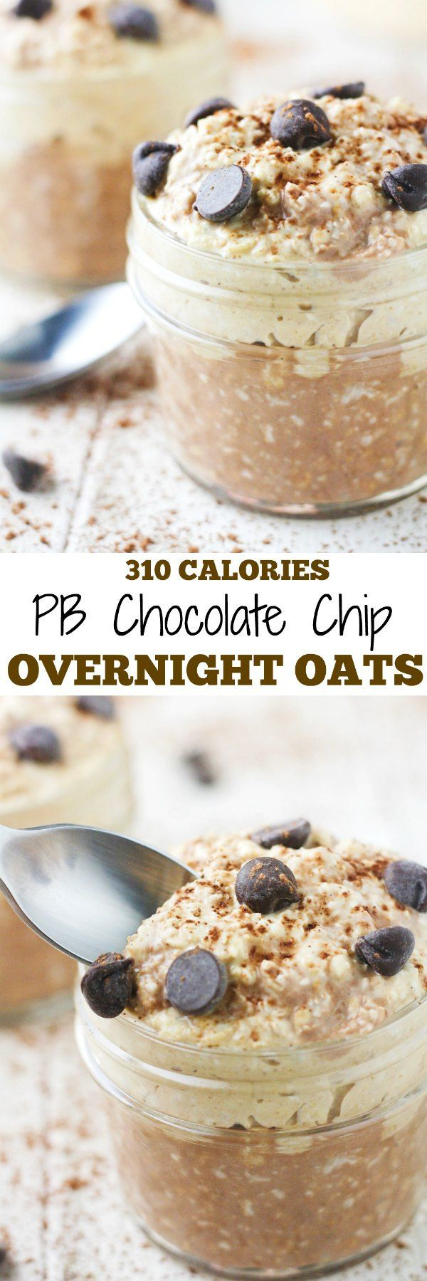 Start your day off perfectly with a bowl of PB Chocolate Chip Overnight Oats! Low calorie thanks to the PB Fit powder. | itscheatdayeveryday.com