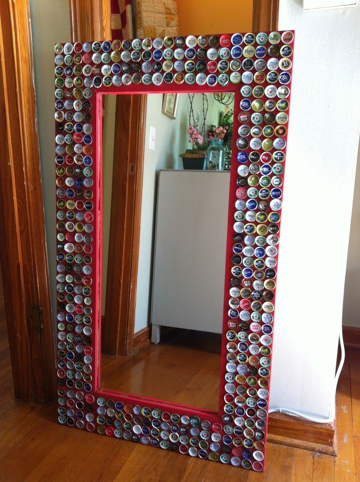Beer cap mirror made with love