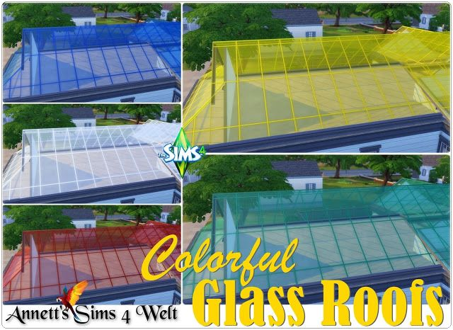 Annett S Sims 4 Welt Colorful Glass Roofs Glass Roof Sims Roof Architecture