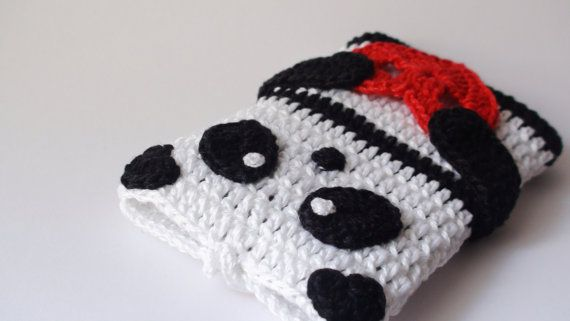 PANDA crochet Phone cozyValentine's Day Gift ideas by HelenKurtidu