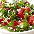 Fresh as a summer's breeze is this recipe for Watermelon, Arugula, and Pine Nut Salad.  Perfection of flavors on a plate!