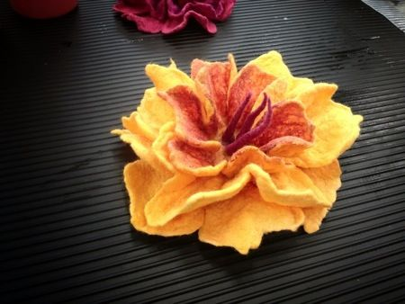 making a wet felt flower