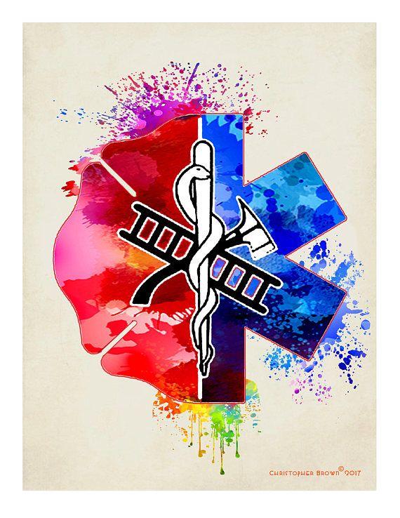 "Firefighter gift, ""Watercolor Firefighter / EMT logo"", 8.5"" x 11 ..."