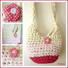 Patrones con trapillo (3): bolso saco ❥Teresa Restegui http://www.pinterest.com/teretegui/ ❥