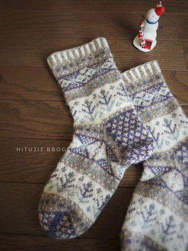 Ravelry: hituji3's No.S97-3 Nord (Socks ver.) ノルドのルームソックス