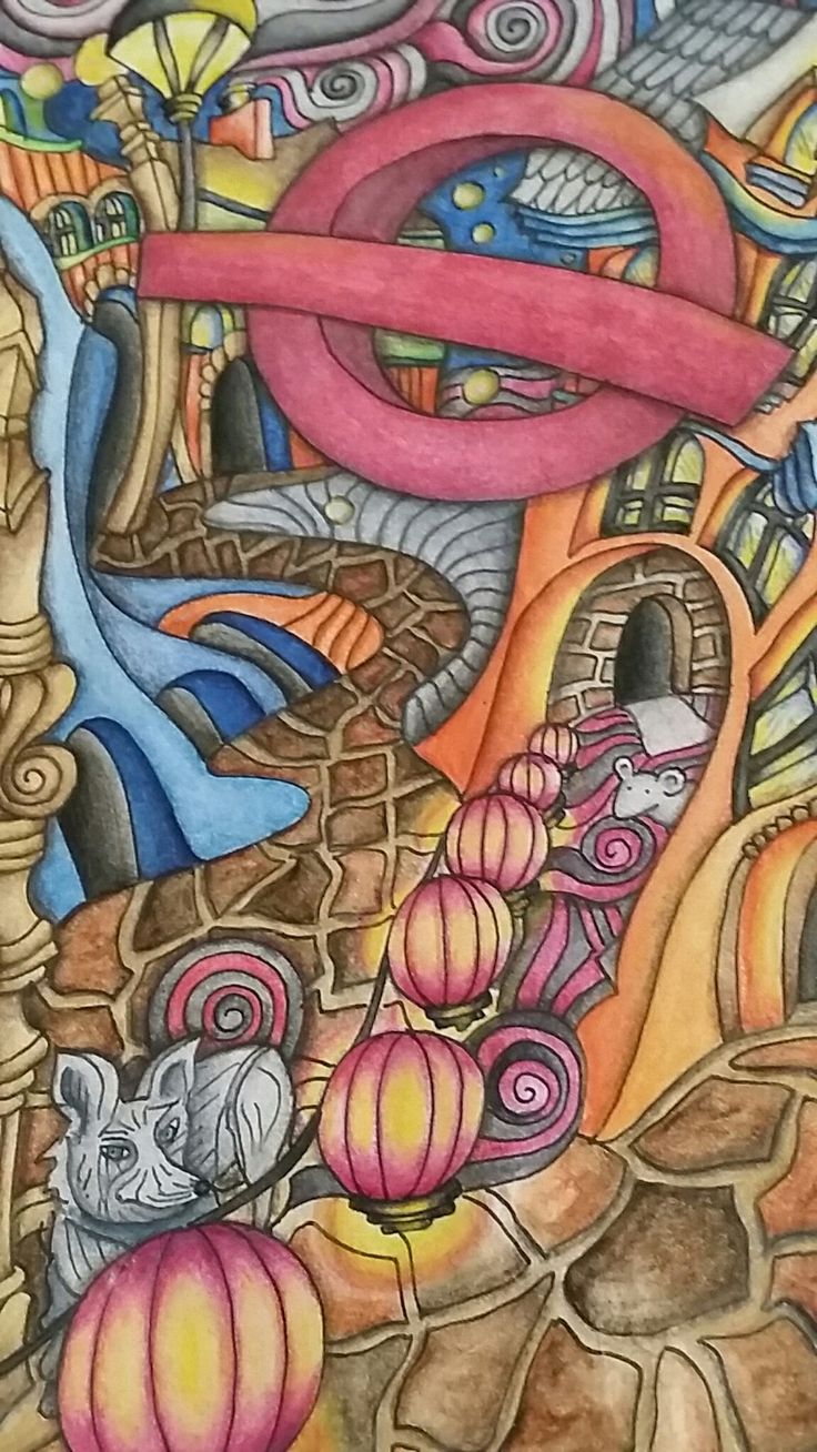 Close Up Of The Magical City Adult Coloring Book Inktense Pencils Activated With Water Colored By Dayna Brown